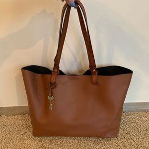 Fossil Brown Leather Tote + Wristlet